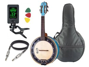 Banjo Elétrico Rozini azul Rj11 Afinador Capa Cabo Palhetas
