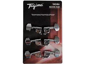 Tarraxa Blindada Guitarra E Violão Aço Tagima Tmh801 Cromado