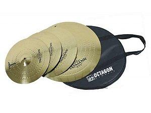 Kit Set De Pratos Bateria Octagon Tasmann C/ Bag 14´16´20´