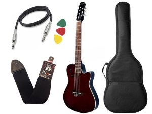 violão flat 7 cordas marques vn23 castanho afinador capa