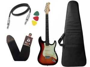 Guitarra Tagima Tg500 Strato Sunburst Capa Cabo