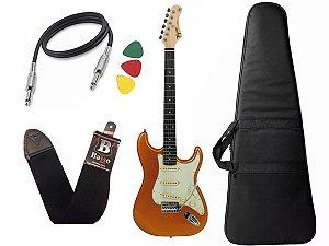 Guitarra Tagima Tg500 Dourado Woodstock Metallic Gold Yellow Capa Cabo