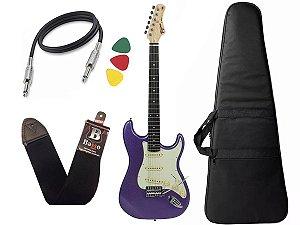 Guitarra Tagima Tg500 Woodstock Roxo Strato Metallic Purple Capa Cabo