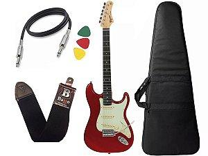 Guitarra Tagima Tg500 Vermelho Woodstock Strato Candy Apple Capa Cabo