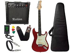 Guitarra Tagima Tg500 Vermelho Woodstock Strato Candy Apple Sheldon