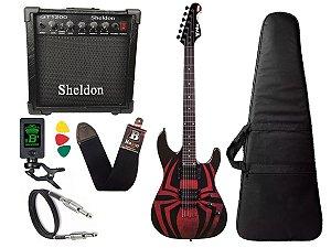 Kit Guitarra Marvel spider man aranha phx Gms1 cubo sheldon