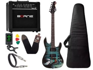 Kit Guitarra venom Marvel phx cubo amplificador borne