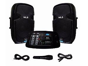 Kit Caixa De Som Ativa Wls 210 200w + Mesa Som + Microfone