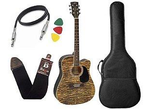 Kit Violão Folk Vogga Vck370 MF Mogno Rajado Afinador capa