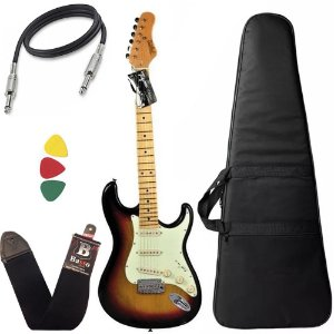 Kit guitarra tagima t635 Sunburst escala clara capa correia