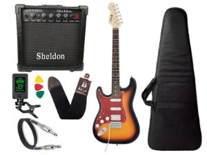 Kit Guitarra Canhoto Phx Strato Power St H Sth Sunburst Cubo Sheldon