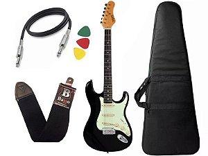 Kit guitarra tagima t635 preta escala escura capa correia
