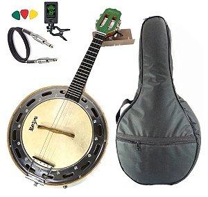 Kit Banjo Rozini Rj11 Elétrico Verde Studio Cxlarga Profissional Bag Capa