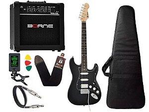Kit Guitarra Strato Phx Sth Preto cubo amplificador borne