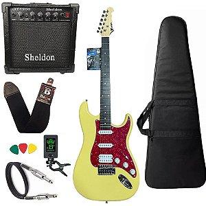 Kit Guitarra Phx Sth Creme Strato Power amplificador sheldon