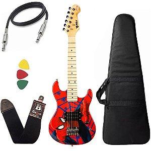 Kit Guitarra Infantil Criança Spider Man Phx Marvel Capa Bag