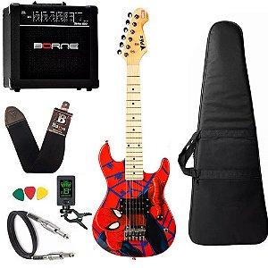 Kit completo Guitarra Infantil Phx Homem Aranha Spider Caixa Borne