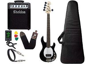 Kit Baixo Tagima Tbm5 Preto Ativo amplificador caixa Sheldon