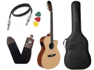 Kit Violão Nylon Tagima Tw27 Natural Woodstock elétrico Bag