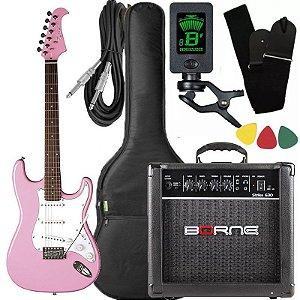 Kit Guitarra Eagle STS 001 Stratocaster Rosa Borne Capa
