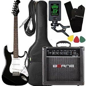 Kit Guitarra Eagle STS 001 Stratocaster Preto Borne Capa