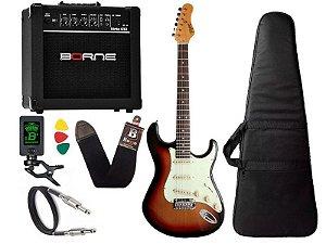 Kit guitarra tagima t635 Sunburst Escuro amplificador borne