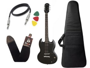 Kit Guitarra sg Epiphone Ve special Ebony preto + capa Bag - Regulado