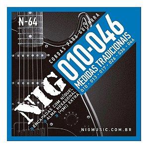 Encordoamento Guitarra Aço 010 046 Nig N64 Tradicional Corda