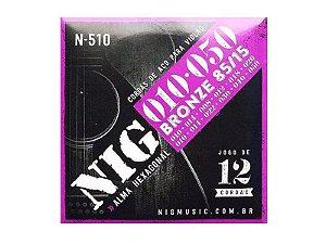 Encordoamento Violão 12 Cordas Aço Bronze Nig N510 Novo Garantia