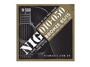Encordoamento Violão Aço Bronze 010 050 Nig N500 Clássico Corda (mi) Brinde