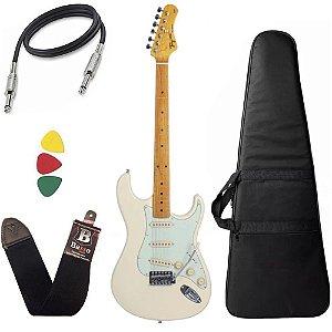kit Guitarra Tagima TG530 Branco OWH Vintage Wood Capa Bag