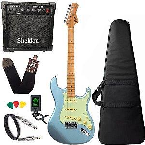 kit Guitarra Tagima TG530 Woodstock Azul Cubo Sheldon
