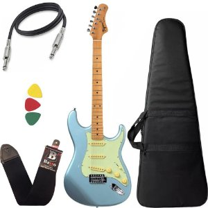 kit Guitarra Tagima TG530 Woodstock Azul Capa Bag