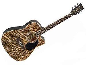 Violão Folk Eletroacústico Vogga Vck370 MF Mogno Rajado