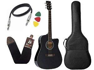 Kit Violão Folk Eletroacústico Vogga Vck370 Bk Preto Afinador Bag