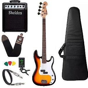 Kit Baixo Precision PHX PBS So 4 Sunburst Cordas Amplificador Sheldon