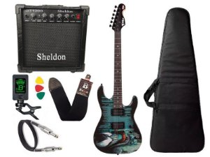 Kit Guitarra venom marvel phx cubo amplificador sheldon