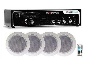 Kit Som Ambiente Borne 4 caixas de som Arandelas bluetooth