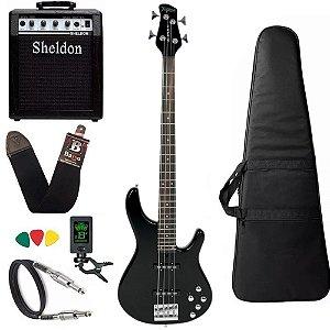 Kit Baixo Tagima Millenium 4 Preto Amplificador Sheldon