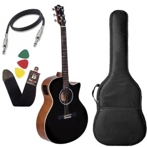 Violão Tagima Woodstock Tw29 Preto Elétrico folk aço capa