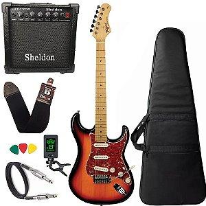 kit Guitarra Tagima TG530 Sunburst Woodstock amplificador