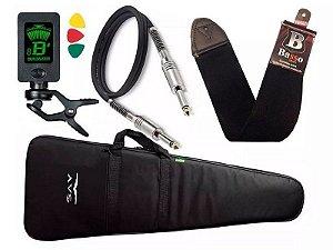 Kit Capa bag Acolchoada guitarra Avs Afinador Correia Basso Cabo P10