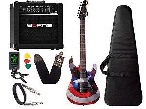 Kit Guitarra Marvel Phx Capitão América Gmc1 caixa borne
