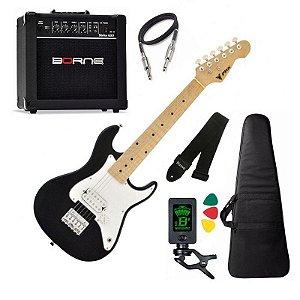 Kit Guitarra Criança Infantil Phx Isth Preto caixa Borne