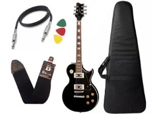 Kit Guitarra les paul golden preto fosco gld151c stbk Bag Capa