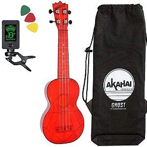 Ukulele Ghost Akahai transparente vermelho Soprano afinador bag palhetas
