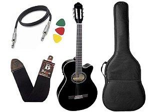 Kit Violão nylon eletrico giannini gnf-1d preto mini jumbo Bag