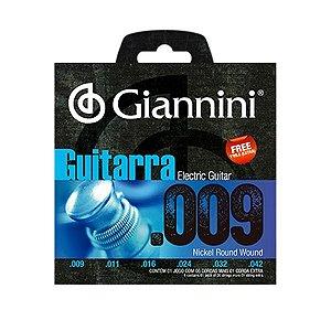 Encordoamento Cordas Giannini Guitarra Aço .009 GEEGST9