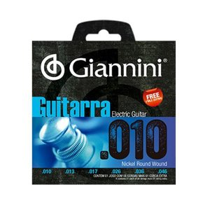 Encordoamento Cordas Giannini Guitarra Aço .010 GEEGST10
