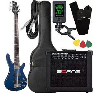 Kit Baixo Giannini Gb205a Azul ativo caixa amplificador Borne